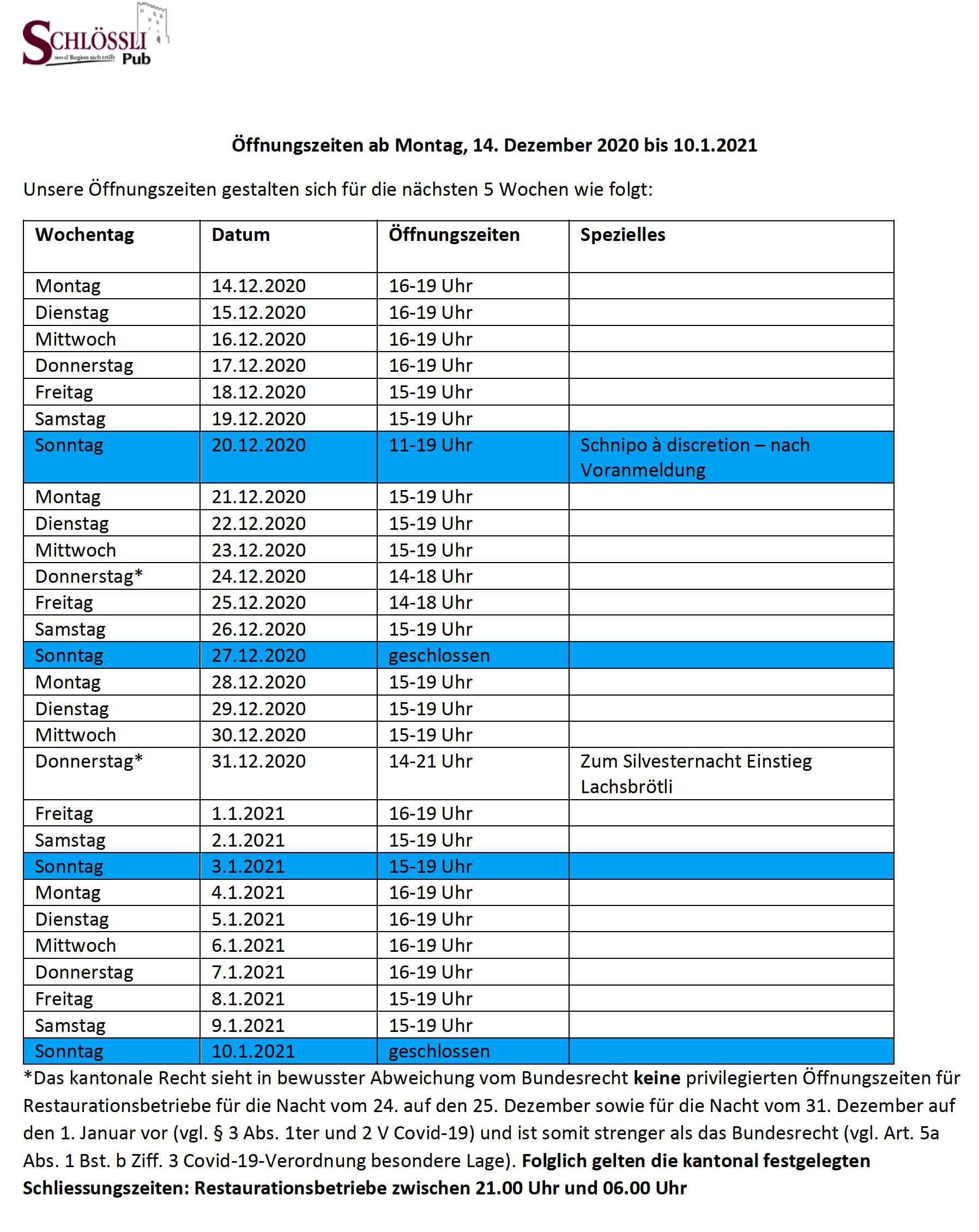 Öffnungszeiten vom 14.12.2020 bis 10.1.2021